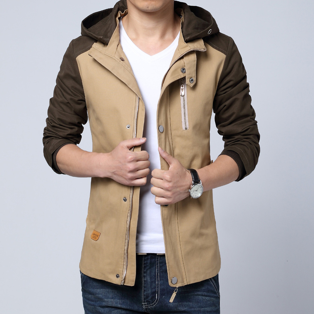 2015 new fashion spring autumn male casual jacket hooded patchwork mens jackets and coats chaquetas hombre plus size 3XL(China (Mainland))