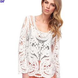 Summer Style Blusas Hot Sale Lace Blouse Long Sleeve Women Tops Fashion 2015 XXL Women Blouses Blusa Feminina Sexy Blouse Shirts