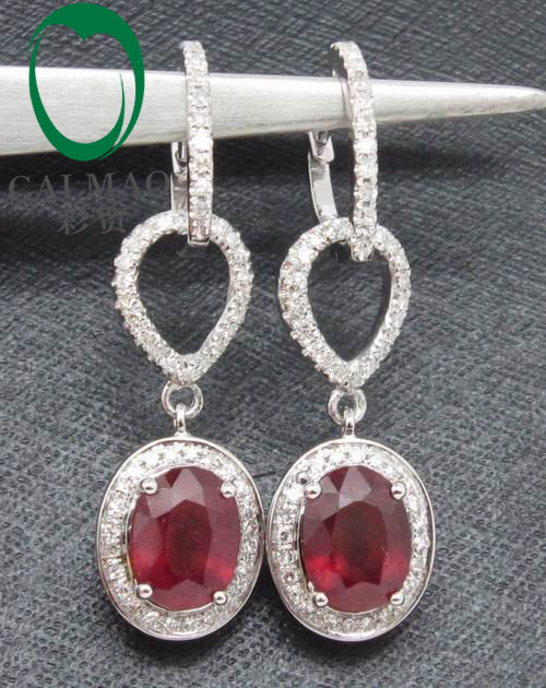 Buy blood red ruby diamond drop for Wholesale 14k gold jewelry distributors