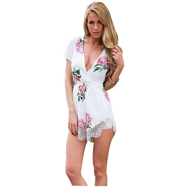 L19 Мода Лето 2016 Женщины Сексуальный Белый Цветочный Принт Кружева Лоскутное Комбинезоны ...
