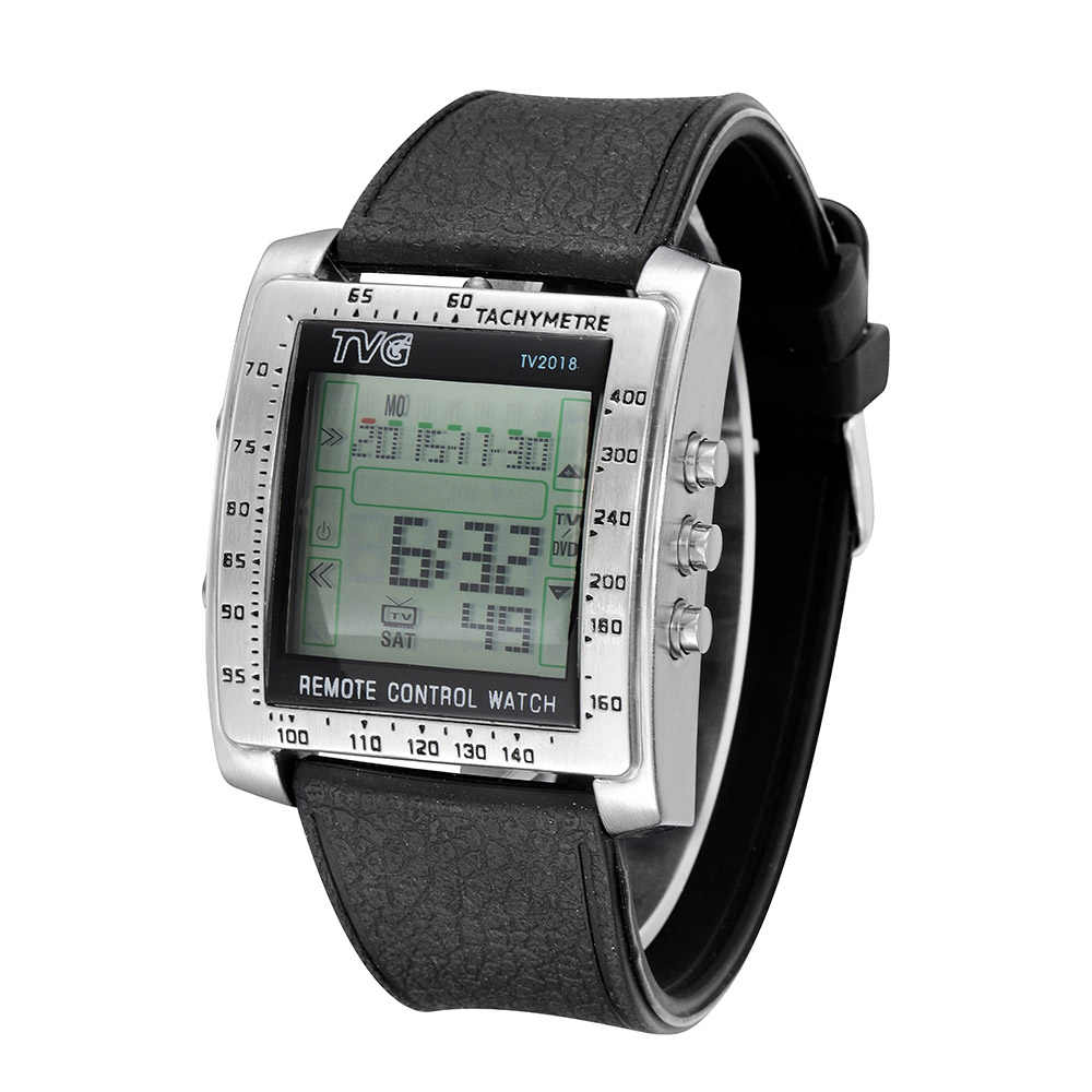 Novelty Multifunctional Watch with TV/DVD Remote Control Stainless Steel Function Digital Man Wristwatch(China (Mainland))