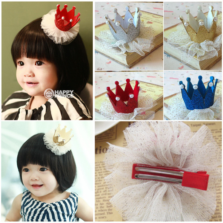 10Pcs Children crown lace hairpin small hat hair accessories wholesale supply girls hair clips(China (Mainland))