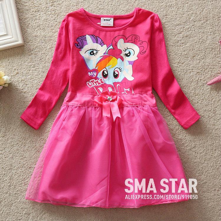 One Piece Hot Selling Dresses Girl Cartoon Pattern Costumes Children Winter Christmas Kids Dresses For Girls Brand SMAH4910(China (Mainland))