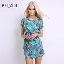 Bfdadi женщины элегантный sweet цветочный мини dress летучие мыши с коротким рукавом о-образным вырезом с поясом повседневная марка платья vestidos bf001(China (Mainland))