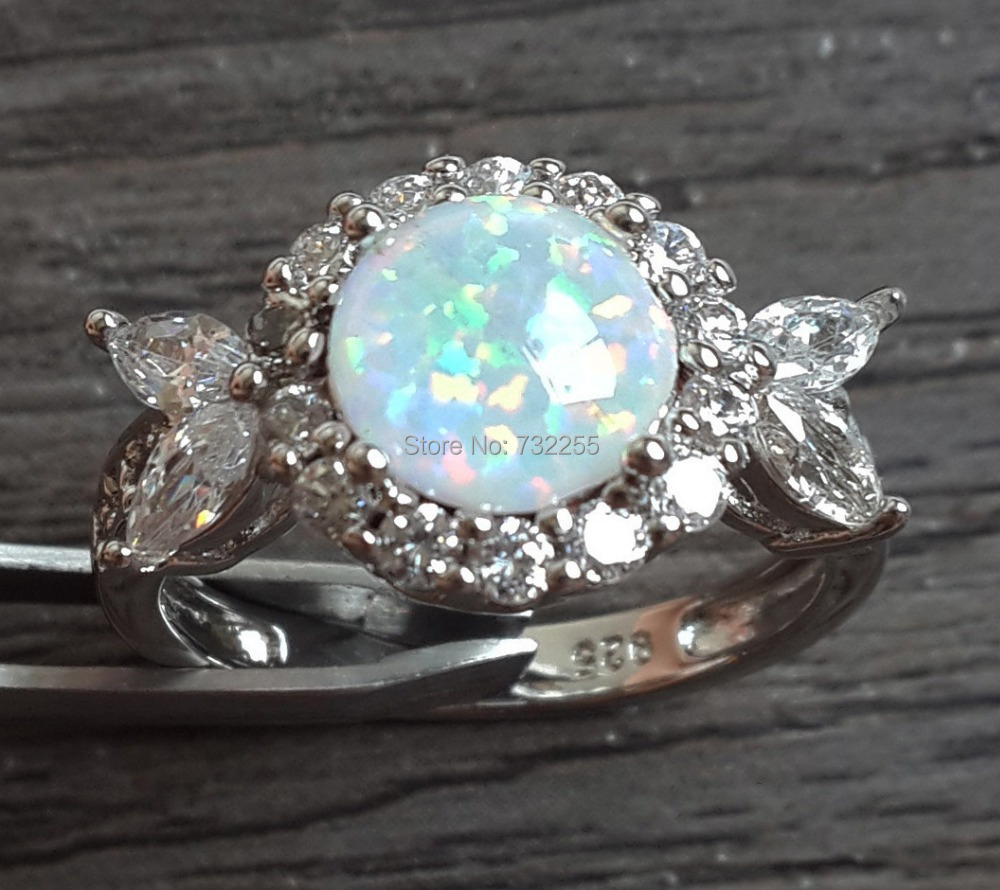 Elegant Lady's White Fire Opal Ring for Gift(China (Mainland))