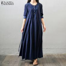 Oversized 2016 Autumn ZANZEA Women Vintage Long Maxi Dress Long Sleeve Buttons Pockets Casual Loose Solid Elegant Dress Vestidos(China (Mainland))