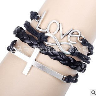 SL020 Hot Fashion New Year Christmas Gifts Bangle love Cross infinite handwoven Personalized Bracelet
