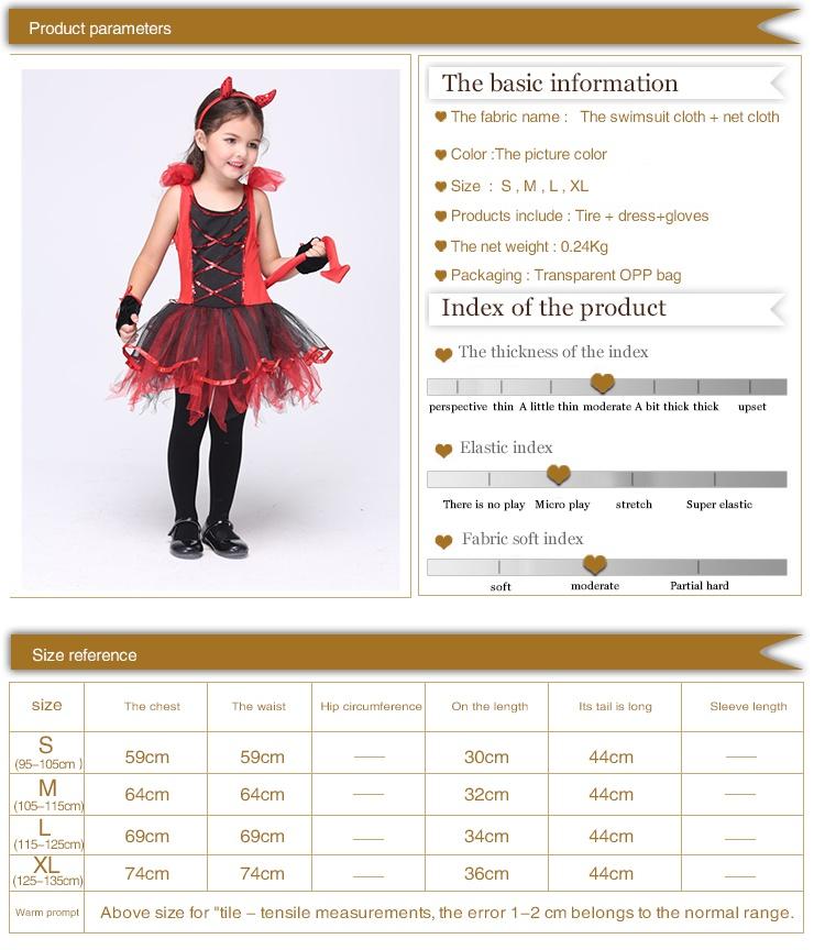 Baby Girl Red and Black Devil Dress Naughty Little Demon Party Dress Fantasia Infantil Children Fancy Dress Halloween Costumes
