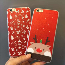 Festive Red Christmas Series Cute Fashion Elk Design All Transparent Silicone Shell For Iphone6,6s,6plus,6Splus Mobile Phone Bag