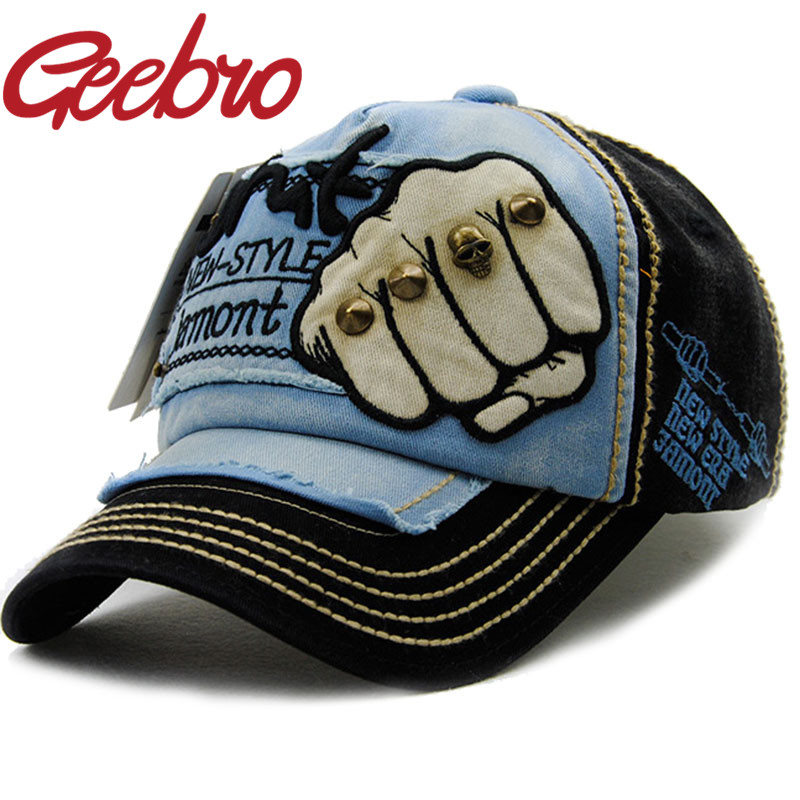 Geebro Fashion Rivets Skull Fist Baseball Cap Snapback Hip-Hop Hat Bone Gorras Cotton Outdoor Sports Hats for Men Women JS075-1A(China (Mainland))