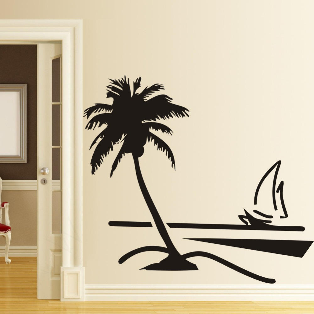 ZY8499 hot  new beach home decor living room bedroom backdrop of coconut trees sailing waterproof removable 3D sticker wholesale