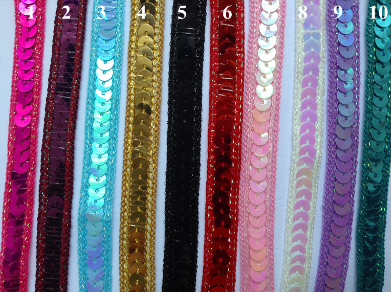 good quality 11mm sequined webbing trim, paillette lace,colorful sequin, stage costume accessories,XERY0716A. - Xery Garment Accessories Co., Ltd store