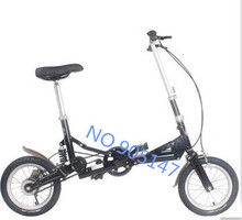 "free shipping 14"" New Fashion Portable Single Speed Folding Bicycle Mini Foldable Bike - Black(China (Mainland))"