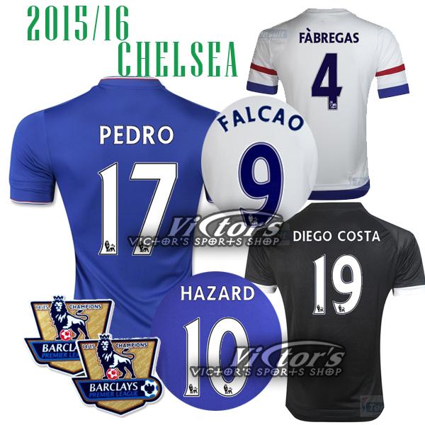 Chelsea PEDRO jersey 2016 SOCCER FALCAO HOME FABREGAS HAZARD chelsea 15 16 away DIEGO COSTA Third WHITE BLACK BABA Jersey shirt(China (Mainland))