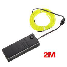 Best Sale 2M Fluorescent Green Flash Flexible Neon Light Glow El Strip Wire+Battery Case(China (Mainland))