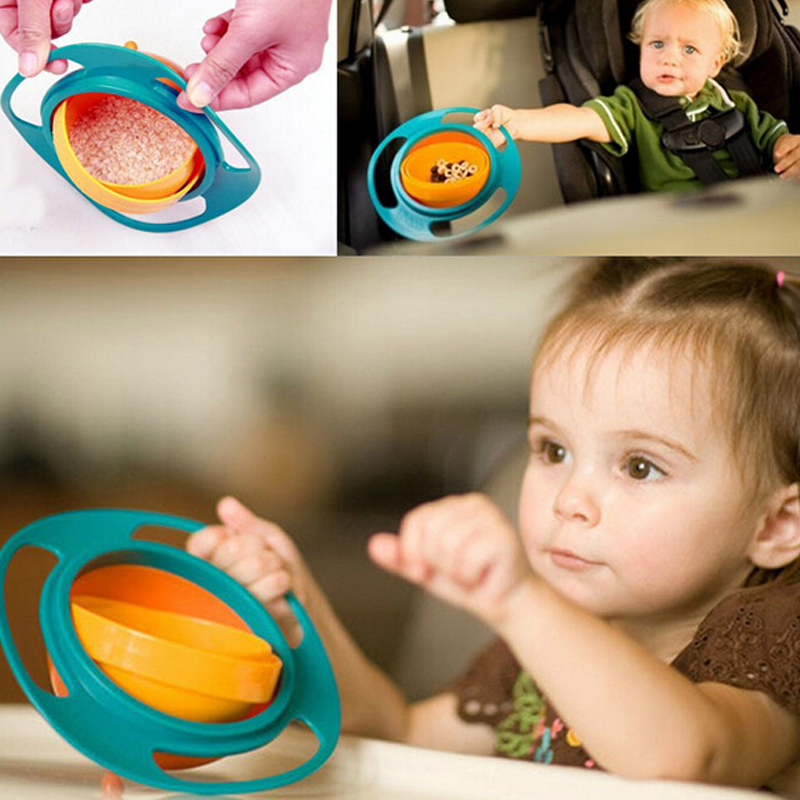 Sale Baby Platos Kid Boy Girl Gyro Feeding Toy Bowl Dishes Non Spill Universal 360 Rotate Technology Funny Gift Pratos(China (Mainland))