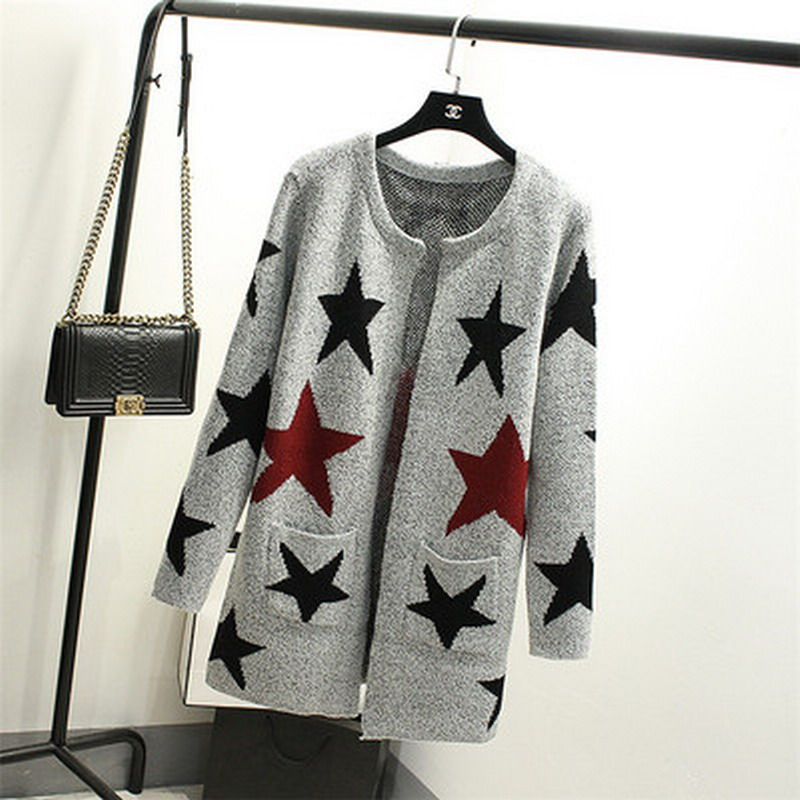 New Autumn Spring  Women Sweater Cardigans Casual Warm Long Design Female Knitted Sweater Star Printed Cardigan Sweater Lady