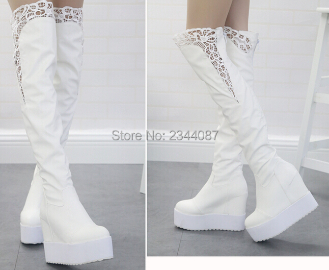 Winter&fall 2016 women wedge heel boots,over the knee women genuine leather shoes,lace shoes,black and white colors