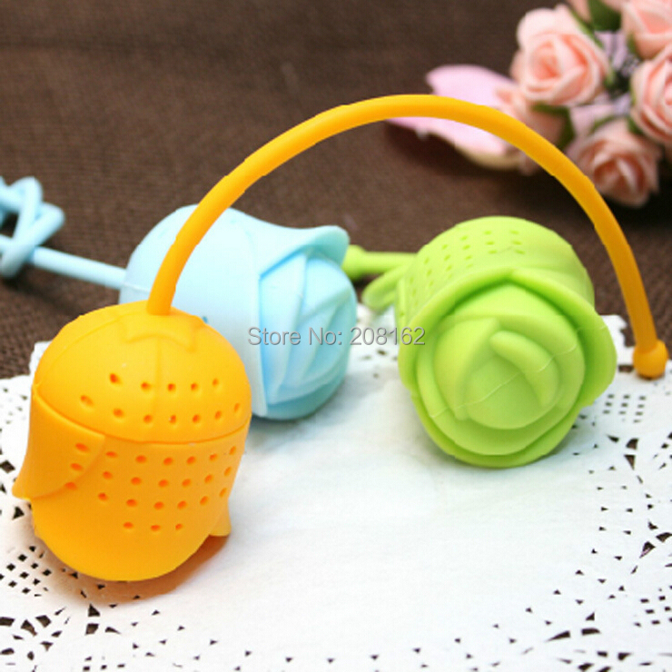 Rose Tea Bags Infuser Teaspoon Filter Tea Ball Silicone Tea Strainers Coffee Tools TB15011001(China (Mainland))