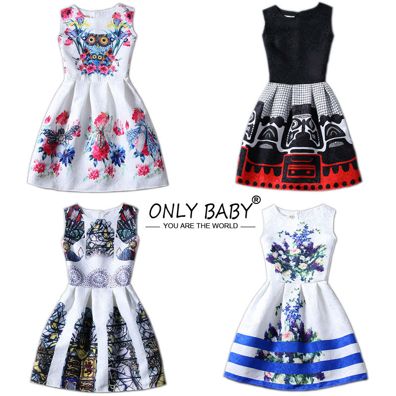 Girl Dresses Kids Clothes 2016 Brand Children Costumes for Girls Princess Dress Floral Pattern Girls Dress 12 13 14 Year Olds(China (Mainland))