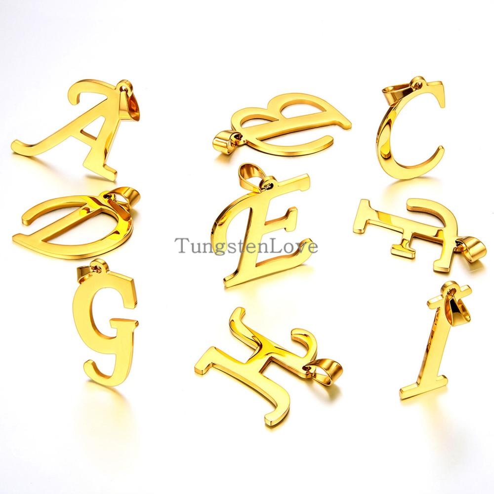 """2015 Fashion 26 Letters Gold Initial Letter Pendant Necklace For Women Men Stainless Steel Chain Necklaces 22"""" - 1 piece(China (Mainland))"""