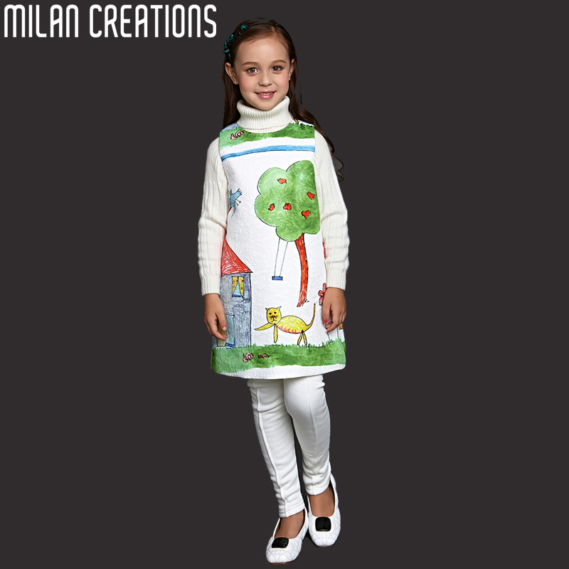 Girl Dress Princess Costume 2016 Brand Children Dress Girls Clothes Character Print Kids Dress Designer Toddler Girls Dresses(China (Mainland))