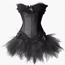 2016 New Arrival Sexy Corset Bustier Sweetheart Boned Lace Up + G-String lingerie+black skirt