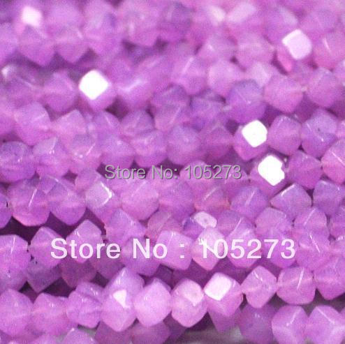 Wholesale Gem Stone Jewelry Purple Jade 4mm Dice Shaper Loose Beads 15''/string Fashion Jewelry New Free Shipping