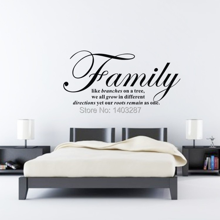 Family like branches on a tree Fine Quality Vinyl Black Wall Sticker Quotes Living Room Bedroom sentences Decor 68x39cm(China (Mainland))