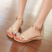 2016 Summer Sandals Women Bohemia Rhinestone Wedge Shoes Roman Style Gold Gladiator Sandals Women Shoes Sweet With Students(China (Mainland))