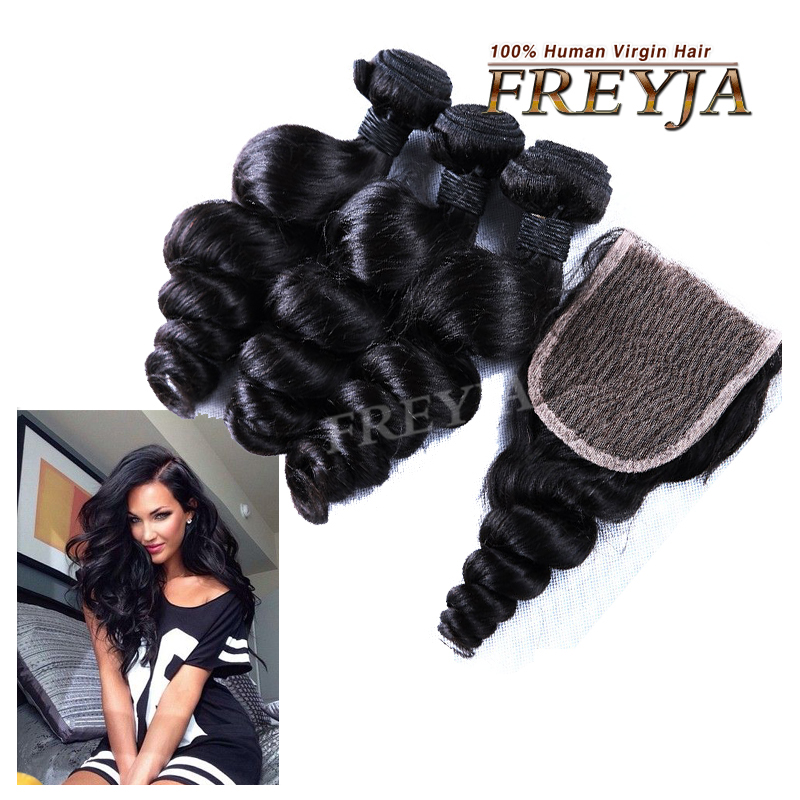 Perulian Virgin Hair Loose wave With Closure 3 Bundles Perulian Wavy Hair With Closure 7a Unprocessed Cheap Human Hair Weave