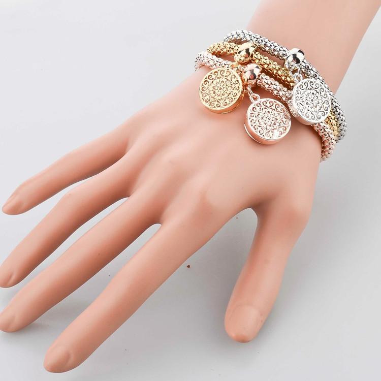 2014 Top Quality 3 PCS Bracelet Bangle Fashion Jewelry Gold Silver Bracelets Round Charm Bracelets For Women SBR140339
