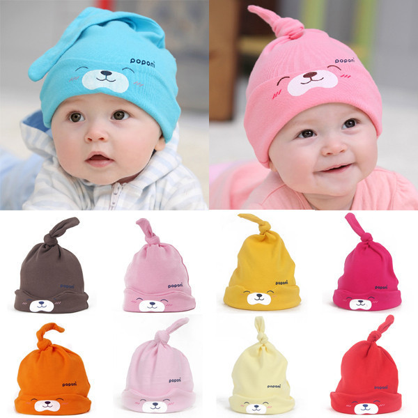 9 Colors Cartoon Baby Girls Boys Toddlers Cotton Sleep Cap Headwear Lovely Hat Free shipping