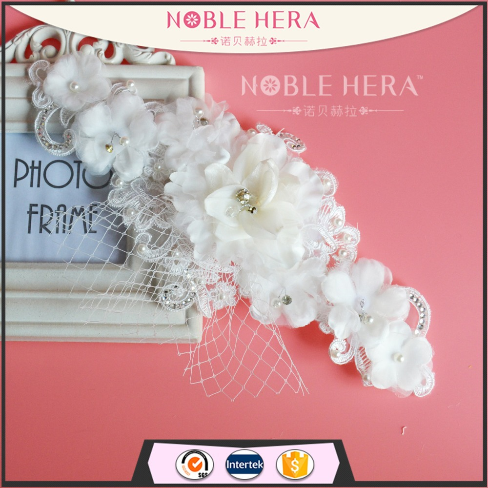 Headwear Large Flower Feather Fascinator Hair Clip Accessory Weddings Ivory Net X264(China (Mainland))