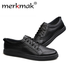 Buy Big Size 47 breathable men genuine leather shoes cowhide casual brand men flat shoes summer fashion lace foowear adults for $38.79 in AliExpress store
