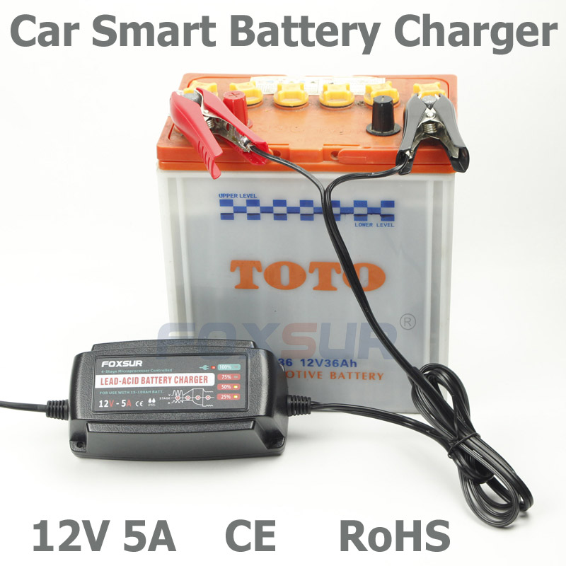 Wholesale original 12V 5A 4-stage smart Lead Acid Battery Charger, Car battery charger, pulse charge, Desulfator,100-240V input(China (Mainland))