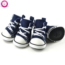 Fashion Cowboy Denim Pet Dog Shoes Outdoor Anti-Slip Puppy Sneaker 4pcs/lot Casual Sport Shoes(China (Mainland))