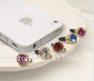 Free shipping Diamond Fashion Ear Cap Dust Plugs For iPhone/iPad/Samsung decoration: SLDP2006