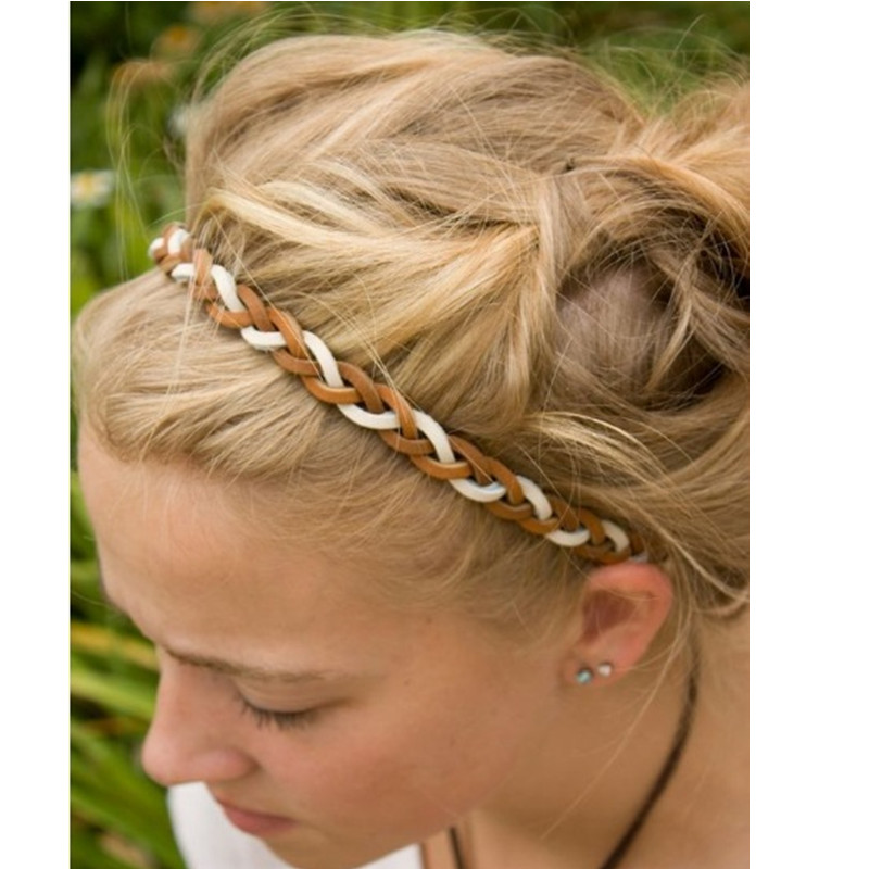 Real leather braided punk elastic headband new fashion cool adult and children elastic headband hair accessories(China (Mainland))
