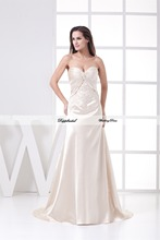 Wholesale Wedding Dress A line Silk like Satin Embroidery Beading Floor length Train Custom made Plus size WD52552(China (Mainland))