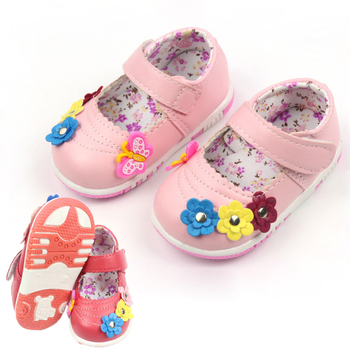 Hot 2015 baby girl's shoe Kid's Toddler Shoes Fashion baby shoes soft bottom lovable flowers Leather shoe Size 10.5-12.5cm