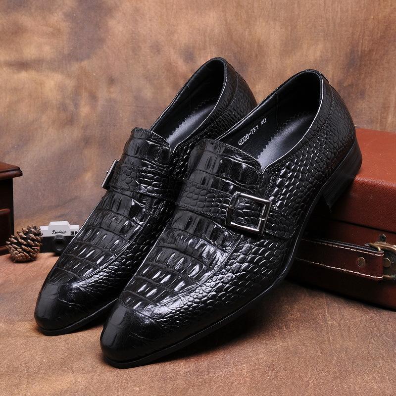 GRIMENTIN fashon brand designer mens dress shoes crocodile handmade formal italian leather shoes for men business flats z658(China (Mainland))