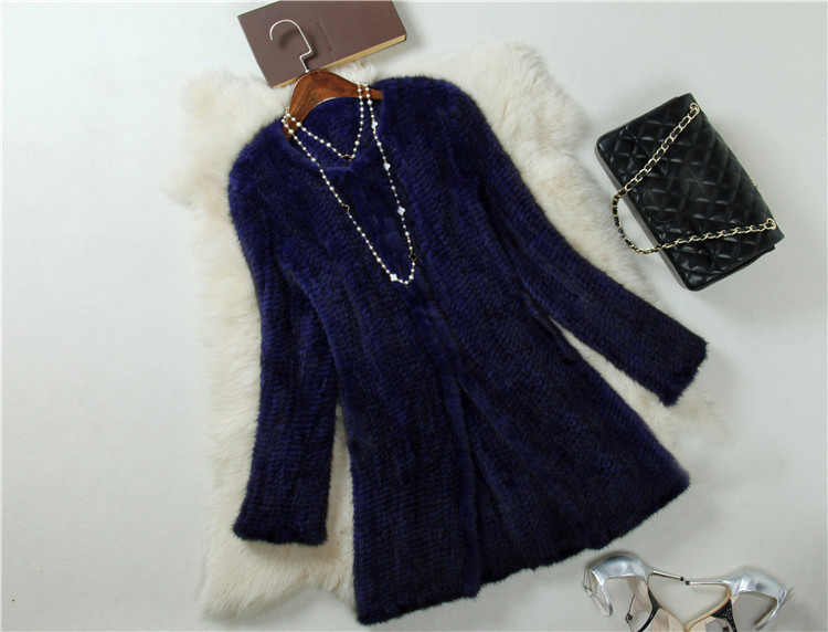 Wholesale Price Top Long Mink Jacket Genuine Fur Female Knitted Mink Coats Real Mink Fur Coat for Woman Spring Autumn BF-C0132(China (Mainland))