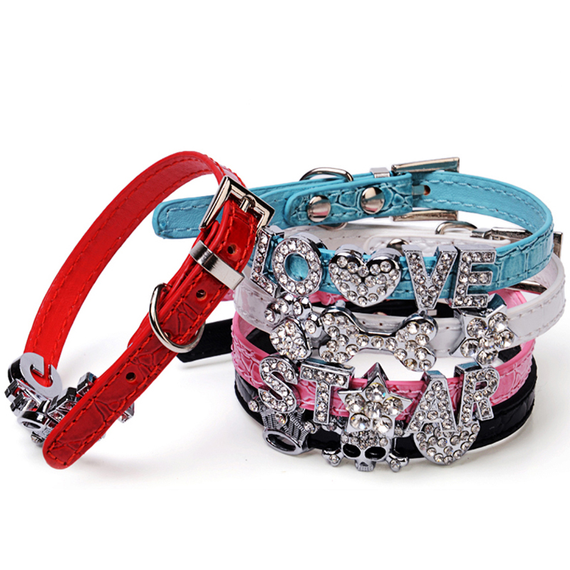 (5 color XXS/XS ) Croc PU Leather Bling Personalized Puppy Dog Collar Cat Collar Customized Free Name Rhinestone Crystal Letter(China (Mainland))