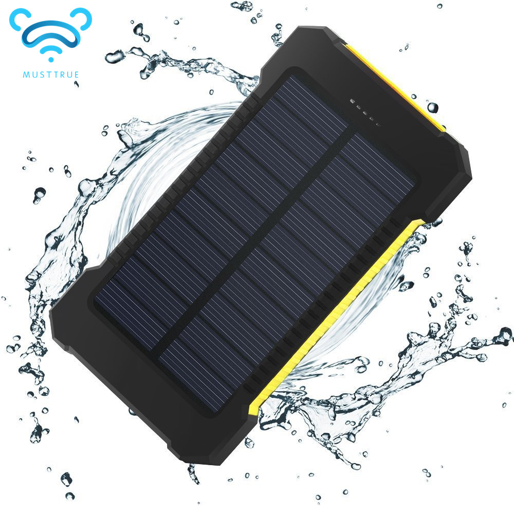 MUSTTRUE 10000mah Power bank&Solar panel Charger waterproof Backup Bateria Externa Portable Charger Powerbank FOR mobile phone(China (Mainland))