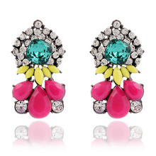 2015 New Vintage Crystal Rhinestone Earrings Retro Hoop Gem Resin Drop Earrings For Woman Gifts Wholesale Fashion Jewerly(China (Mainland))