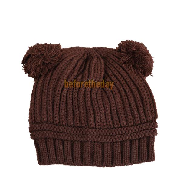BETR Korea Style Lovely Dual Ball Design Baby Knitted Wool Warm Hat Cap Coffee(China (Mainland))