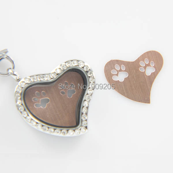 New Heart Shape Rose Gold 316L Stainless Steel Dog Paw Plate for Floating Locket 20pcs/lot P126(China (Mainland))