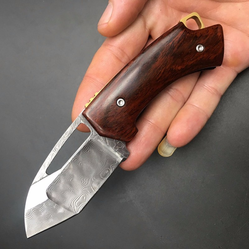 Buy GP Browning pocket Damascus knife tactical folding MINI survival knife wood handle Multi knife edc tools the best gift to friend cheap