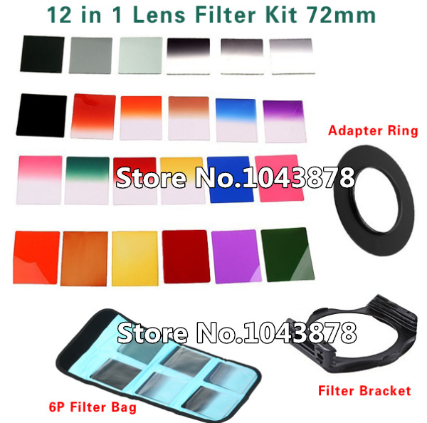 12 in 1 Filter Kit Camera Lens Filter 72mm Gradient Filter Filter Kit ND2 ND4 Adapter Ring 6P Bag Case camera Accessories(China (Mainland))